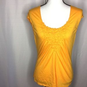 ANTHROPOLOGIE Tangerine Sleeveless Top with fluff